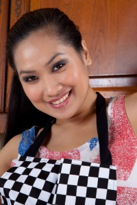 Natural Asian Cutie Amy from WeAreHairy Strips in the Kitchen