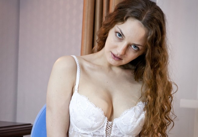 Hairy Girl Ginger Strips Out Of Her White Lingerie