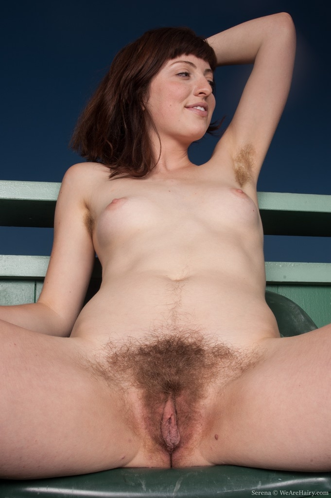 WeareHairy's Serena spreads her hairy pussy on the terrace