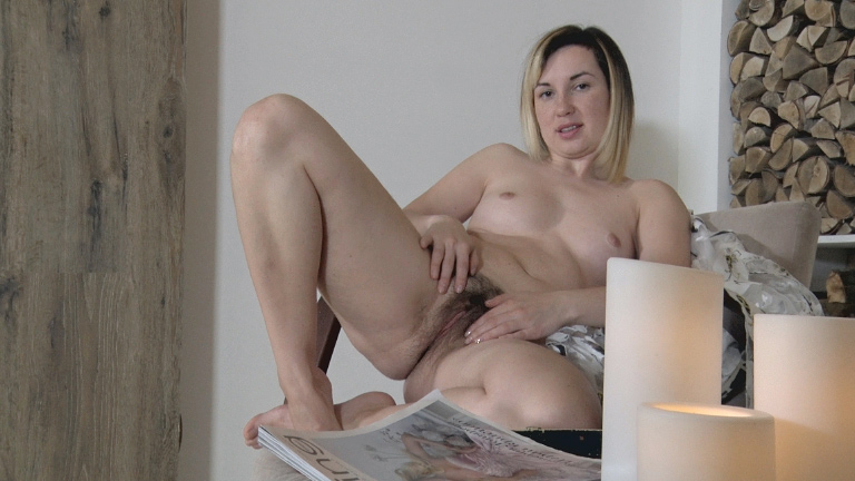 Cutie with small tits and nice ass Sasha K massages her very wet bush