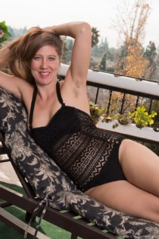 Horny hairy mom Valentine takes off her onesie to show her hot hairy nude body