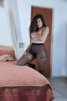 Horny hairy girl Sally tears off her pantyhose and exposes her very hairy bush
